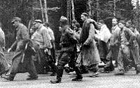 Prisoners on a death march out of Dachau