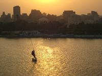 From my hotel window, the sun sets on the Nile