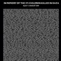 In Memory of the 373 Children killed in Gaza 8 July - 3 August 2014